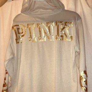 RARE victoria's secret pink white & gold hoodie